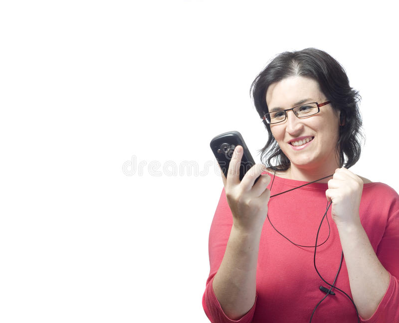 mp3 technologii muzyczna kobieta zdjęcia stock