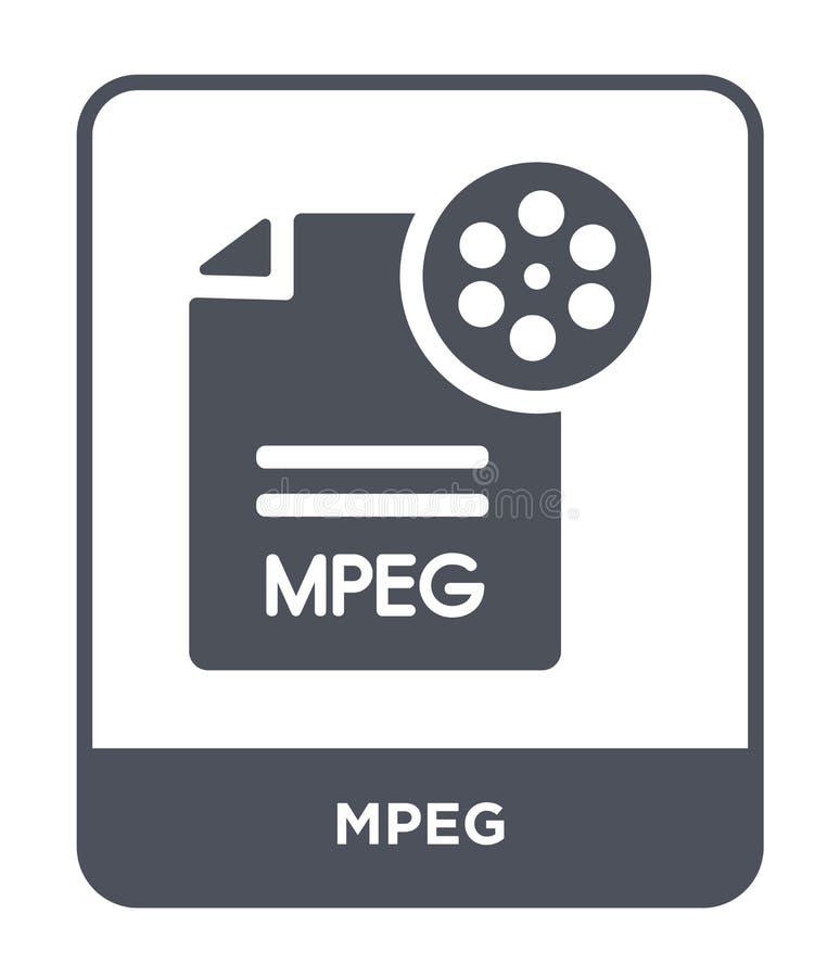 mpeg-symbol i moderiktig designstil mpeg-symbol som isoleras på vit bakgrund enkelt och modernt plant symbol för mpeg-vektorsymbo royaltyfri illustrationer