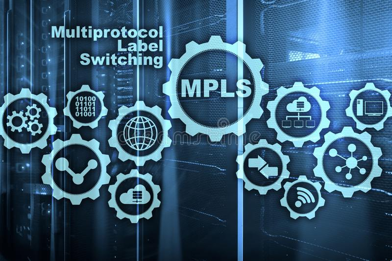 MPLS. Multiprotocol Label Switching. Routing Telecommunications Networks Concept on virtual screen. MPLS. Multiprotocol Label Switching. Routing royalty free stock photography
