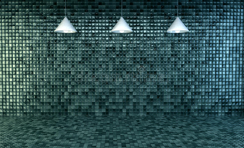 Mpty bathroom with mosaic tiles. 3d Illustration, Empty bathroom with mosaic tiles on wall and floor vector illustration