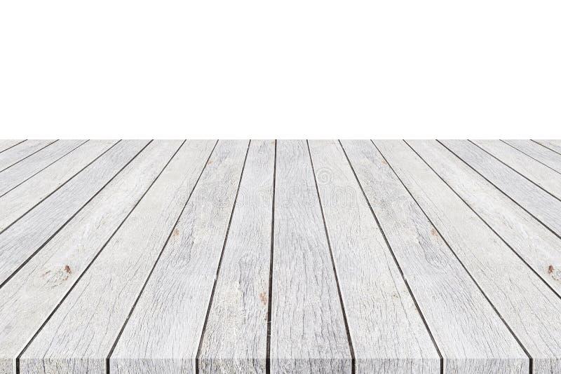 mpty bovenkant van houten die lijstteller op wit wordt geïsoleerd Gespaard met c stock fotografie
