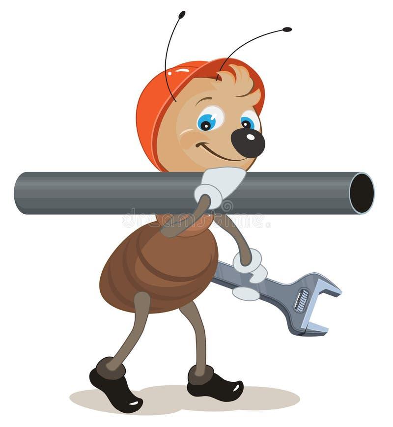 Mrówka hydraulik niesie na jego ramieniu i trzymać fajczanego wyrwanie ilustracja wektor