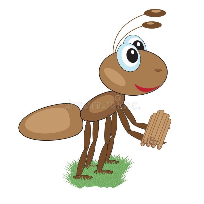 Mrówka niesie łupkę ilustracja wektor
