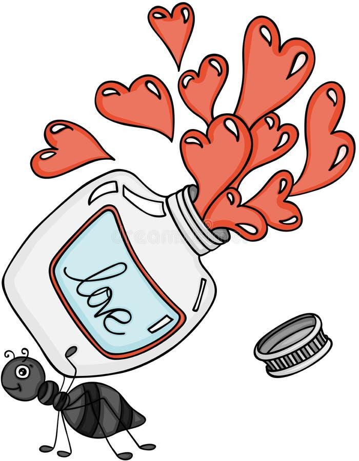 Mrówka niesie miłość napoju miłosnego butelkę ilustracji