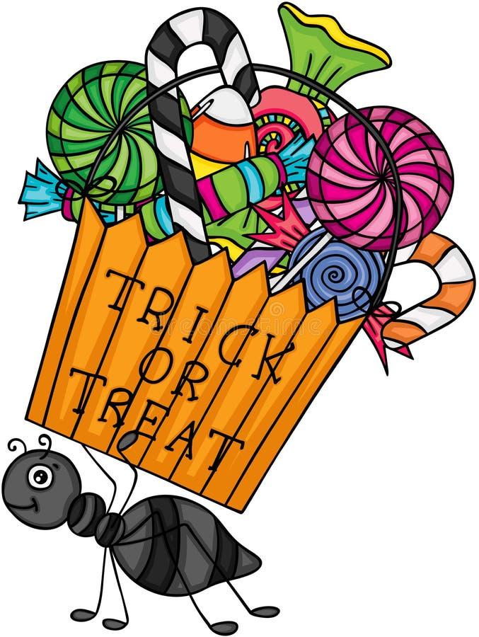 Mrówka niesie trikowej lub fundy torbę wypełniał z cukierkami ilustracji