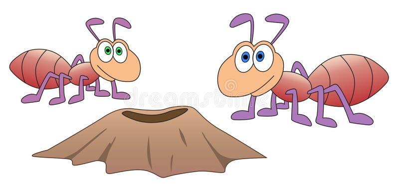 Download Mrówki i anthill ilustracja wektor. Ilustracja złożonej z lato - 57656241