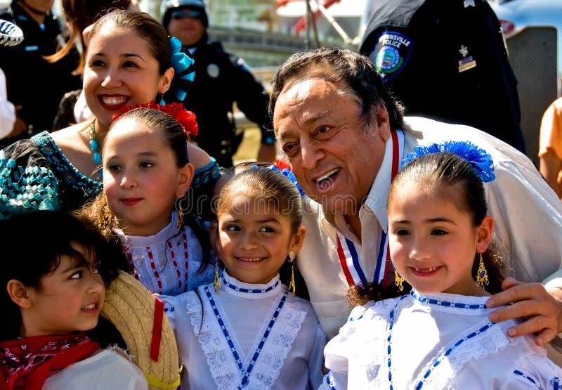 MR Amigo and children on Charro Days fiesta stock photography