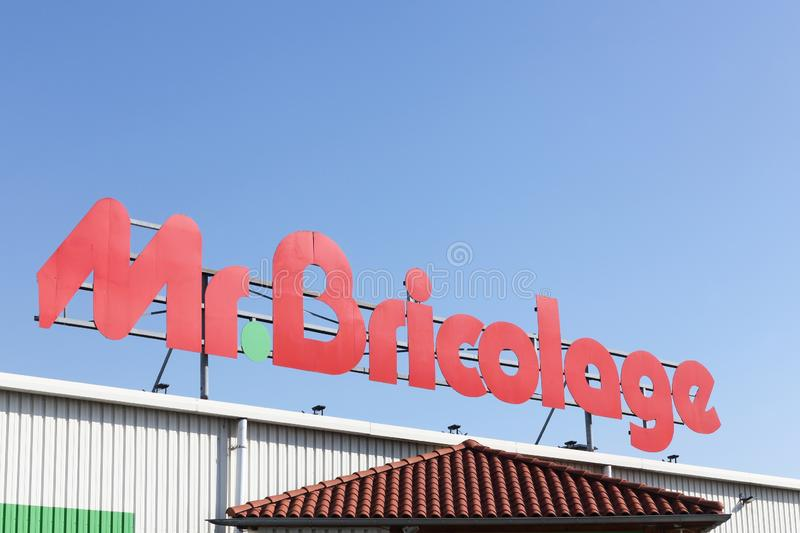 Mr. Bricolage logo on a building. Arles, France - July 4, 2018: Mr. Bricolage logo on a building. Mr. Bricolage is a French retail chain offering home stock photo