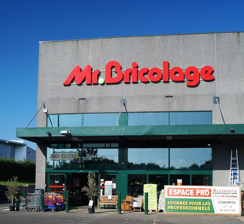 Mr. Bricolage Storefront. Waterloo, Belgium – June 2, 2017: Mr. Bricolage is a French retail chain offering home improvement and do-it-yourself products stock photography