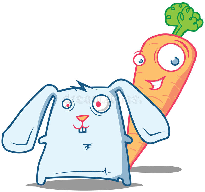 Mr. Carrot and Rabbit starring. Two pals - Mr. Carrot and a little crazy Rabbit starring stock illustration