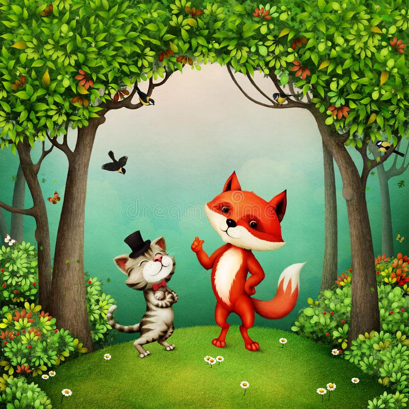 Free Mr. Cat And Fox Stock Image - 162941351