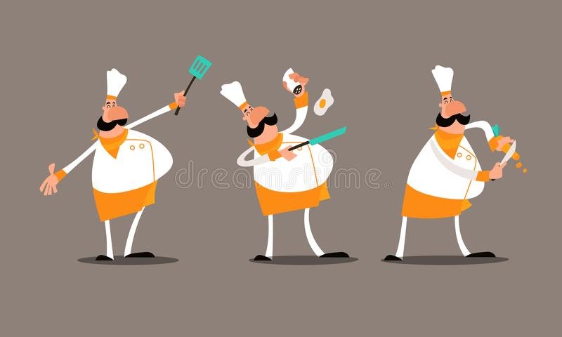 Mr Chef Orange. Hello, This is Mr Chef Orange! He is frying an egg and cutting a carrot. He is happy to help introduce your restaurant business. This .EPS file royalty free illustration