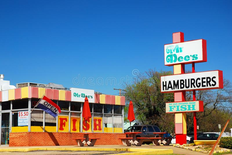 Mr Dees, Fredericksburg, Virginia. A classic diner, Mr Dees in Fredericksburg Virginia, unchanges since the 1970s royalty free stock images
