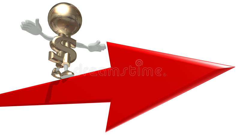 Mr Dollar balances on an arrow. Isolated 3D personage on a white background stock illustration