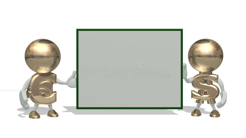 Download Mr Dollar And Euro On A White Stock Illustration - Illustration: 11365930
