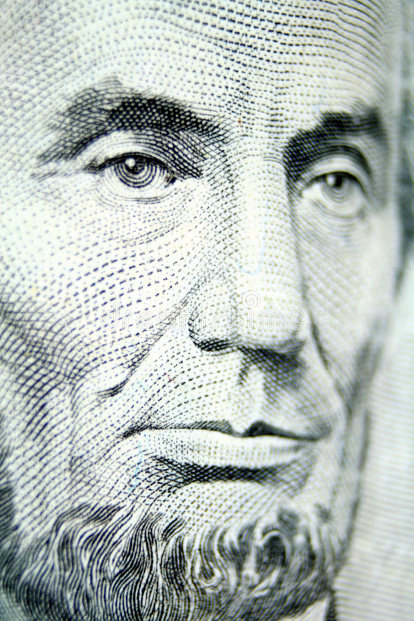 Download Mr. Lincoln Graces The Five Dollar Bill Stock Photo - Image: 1715398