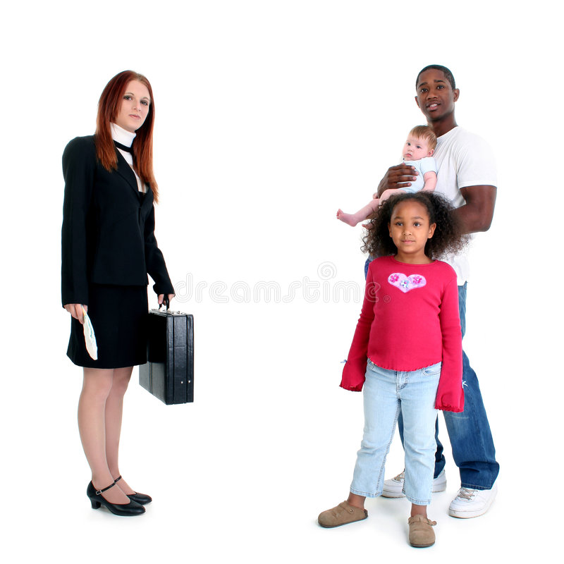 Mr. Mom. Professional mom heading to work while dad takes care of kids royalty free stock images