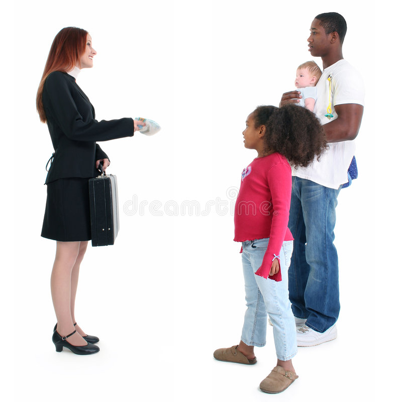 Mr. Mom. Professional mom heading to work while dad takes care of kids stock photography