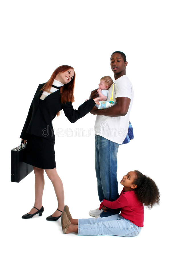 Mr. Mom. Professional mom heading to work while dad takes care of kids royalty free stock photography