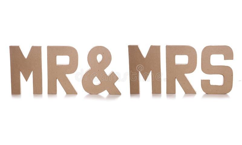 Mr & mrs decoupage letters. Cutout stock photography