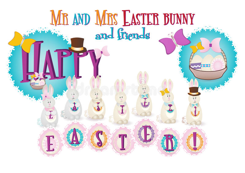 Mr and Mrs Easter bunny, card royalty free stock image
