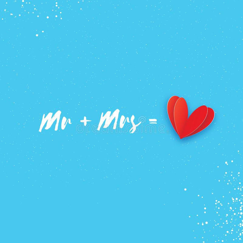 Download Mr And Mrs Words Mister Plus Missis Equal Love Paper Cut Red Heart