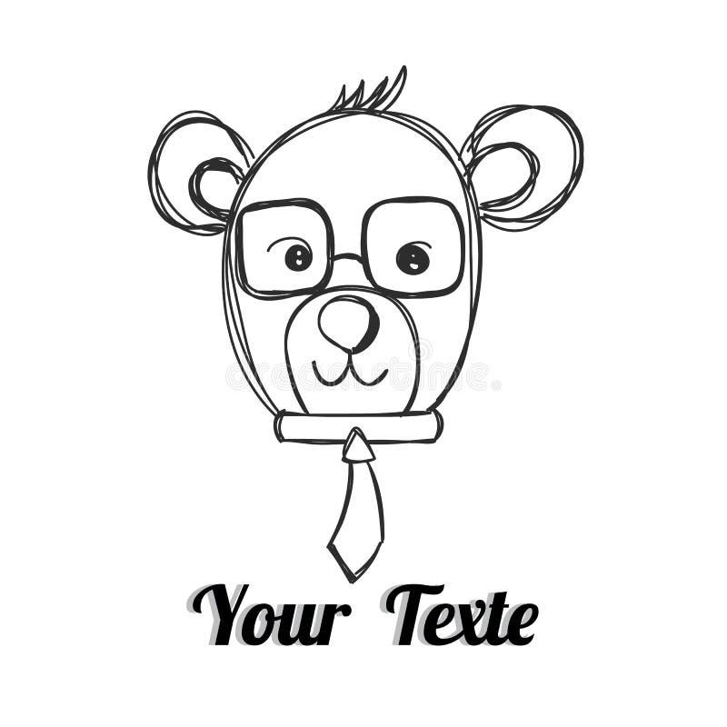 Mr Niedźwiedź z krawata ręka rysującym wektorem ilustracji