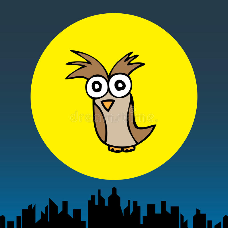 Mr. Owl in the Cityscape. Illustration of hand drawn cartoon owl in the cityscape background royalty free illustration