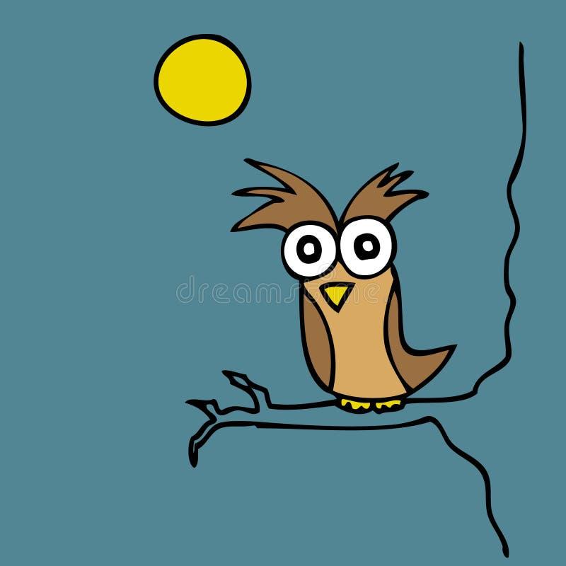 Mr. Owl. Illustration of hand drawn cartoon owl at night vector illustration