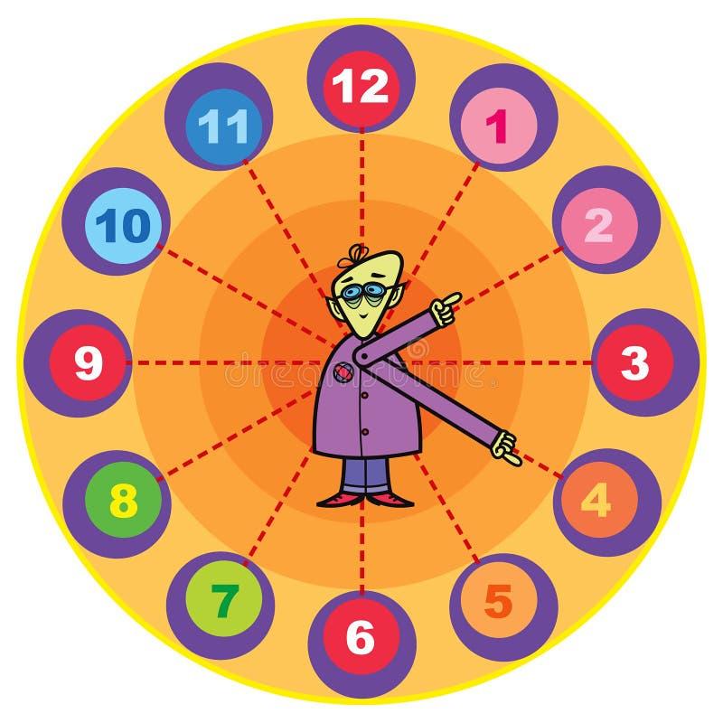 Mr. professor cartoon clock vector illustration
