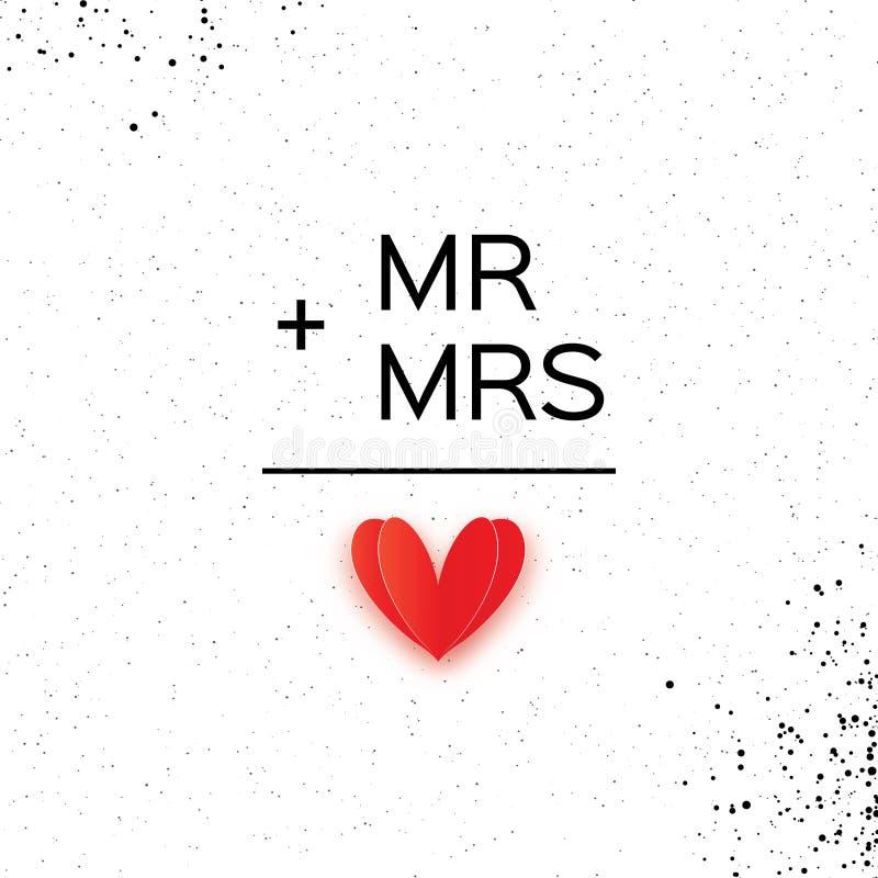 Mr słowo i Mrs Mister plus Missis równy miłość na bielu royalty ilustracja