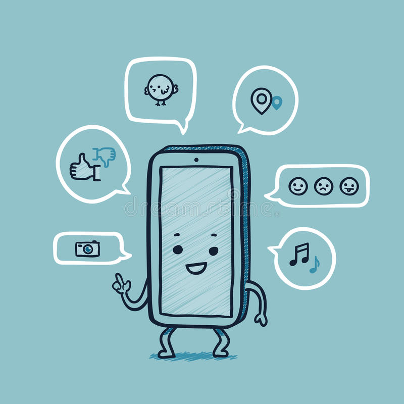 Mr smart phone social networks vector illustration