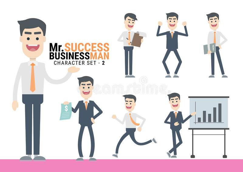 Mr.Success. The Businessman Character set - 2. Mr.Success. The Businessman Character set. A variety of activities in the daily lives of young businessmen vector illustration