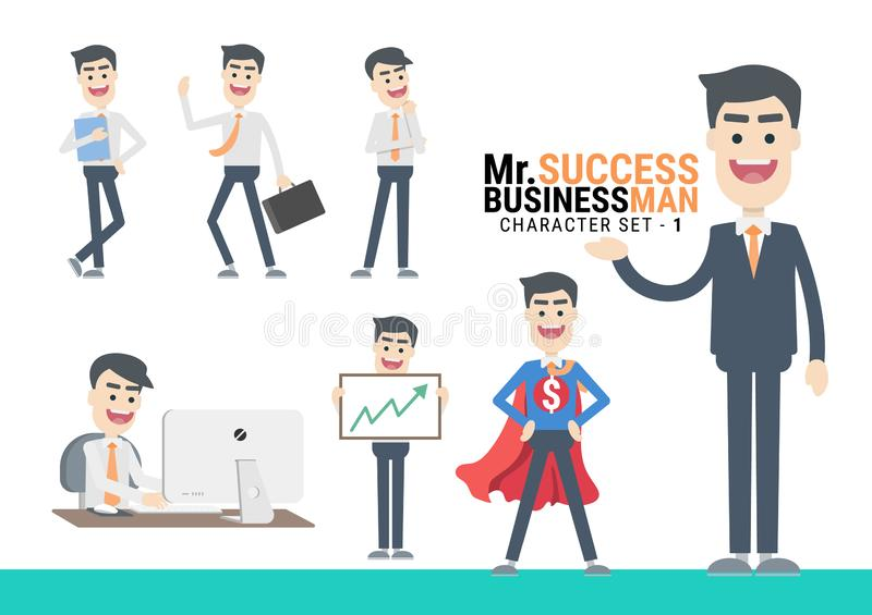 Mr.Success. The Businessman flat design various Character set - 1. Mr.Success. The Businessman Character set. A variety of activities in the daily lives of young stock illustration