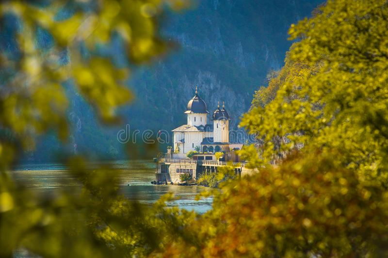 Mraconia Monastery situated on the banks of Danube. Autumn scenery landscape with Mraconia Monastery situated on the banks of Danube in Mehedinti county, Romania stock photos