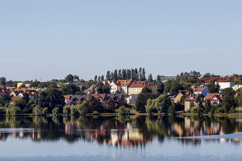Mragowo, een stad het Masurian-Meerdistrict, Polen stock foto's