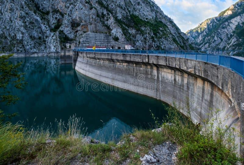 Mratinje Dam on Piva lake Pivsko Jezero view in Montenegro royalty free stock image