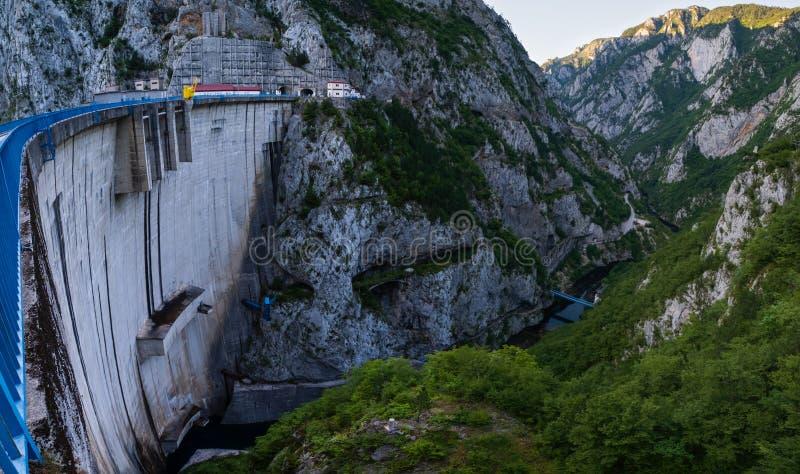 Mratinje Dam on Piva lake Pivsko Jezero view in Montenegro stock photography