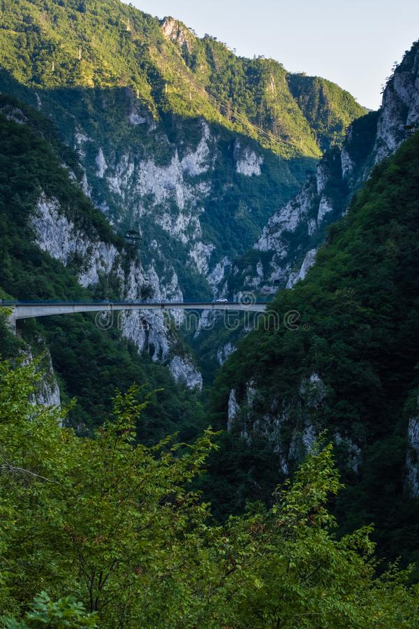 Mratinje Dam on Piva lake Pivsko Jezero view in Montenegro royalty free stock images