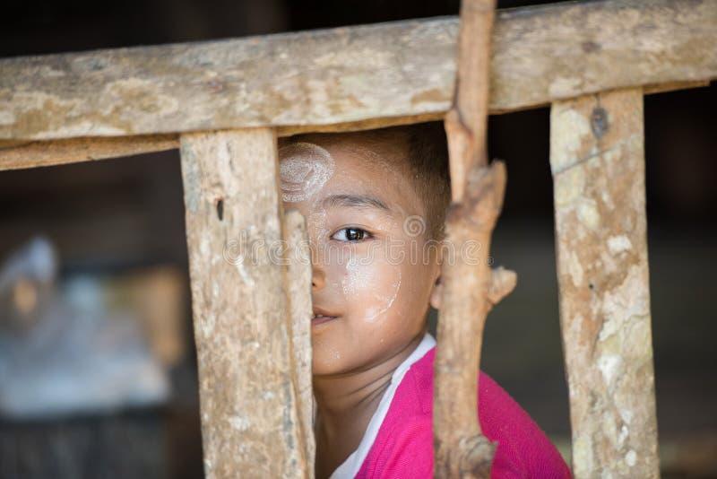 Mrauk U, MYANMAR - DEC 15, 2014: Unidentified Burmese boy smile. In Mrauk U on December 15, 2014 in Mrauk U, Myanmar royalty free stock photos