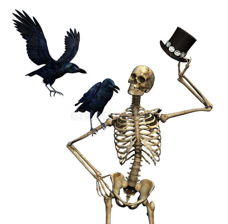 mren ravens skelett vektor illustrationer