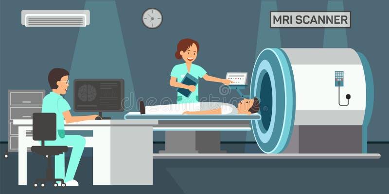 MRI-bildläsare Plan illustration för vektor stock illustrationer