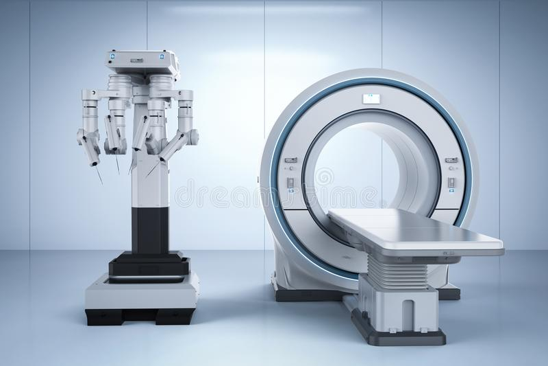 Mri bildläsning med robotkirurgi stock illustrationer