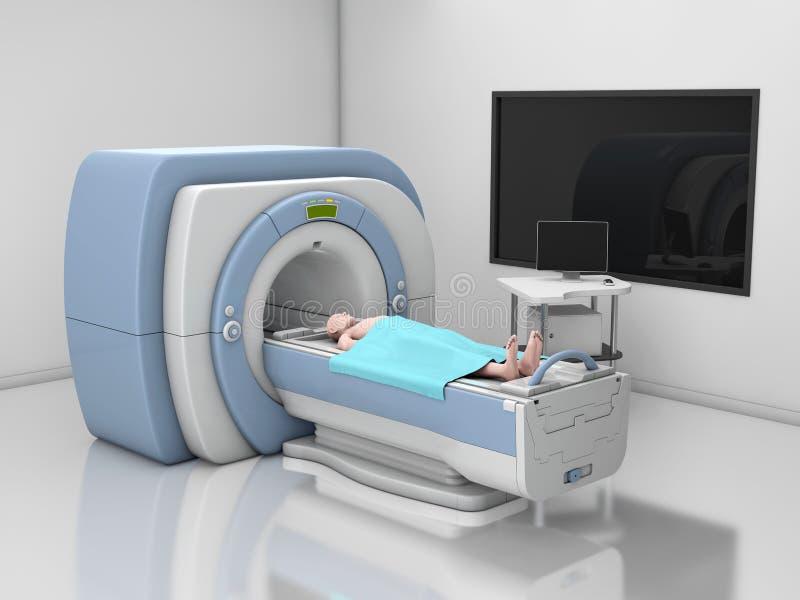 MRI-bildl?sare Kopiering f?r magnetisk resonans av kroppen Illustration f?r begrepp 3d f?r medicin diagnostisk royaltyfri illustrationer
