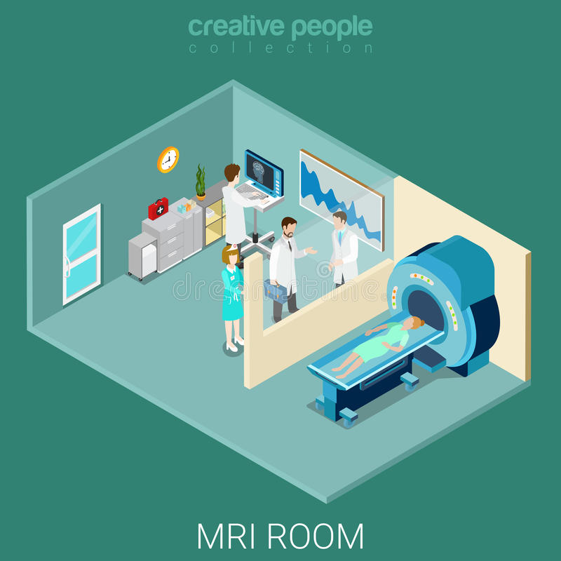 MRI MRT Room Hospital Interior Equipment Flat Isometric Vector Stock ...