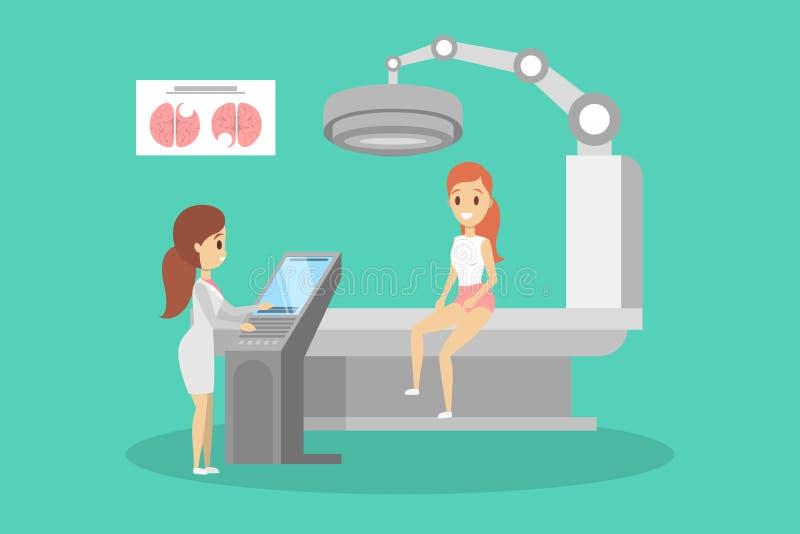 MRI-process Doktor som g?r kopiering f?r magnetisk resonans vektor illustrationer