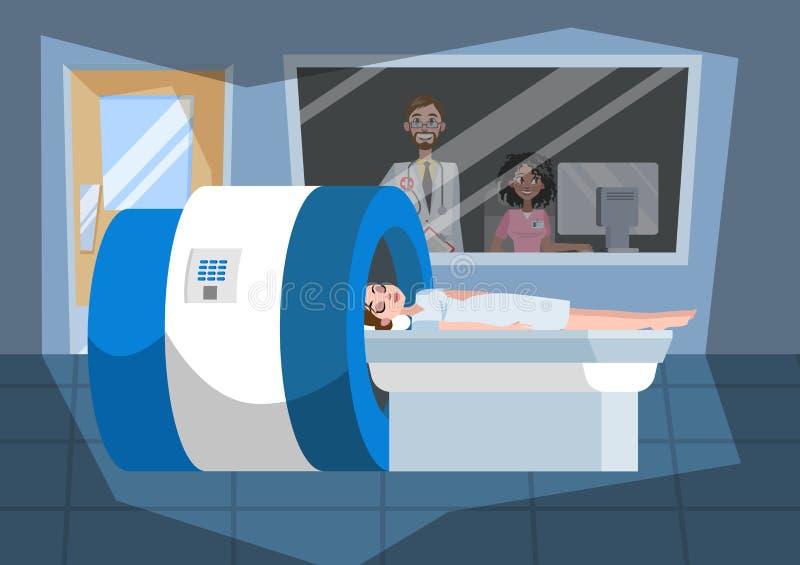 MRI-Prozess Junge Frau, die in der Maschine liegt vektor abbildung