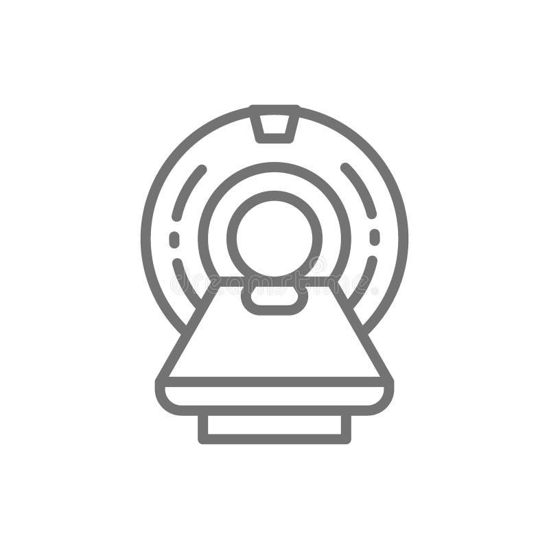 MRI przeszukiwacz, obrazowanie rezonansem magnetycznym przyrząd, sprzęt medyczny, tomografii kreskowa ikona ilustracji