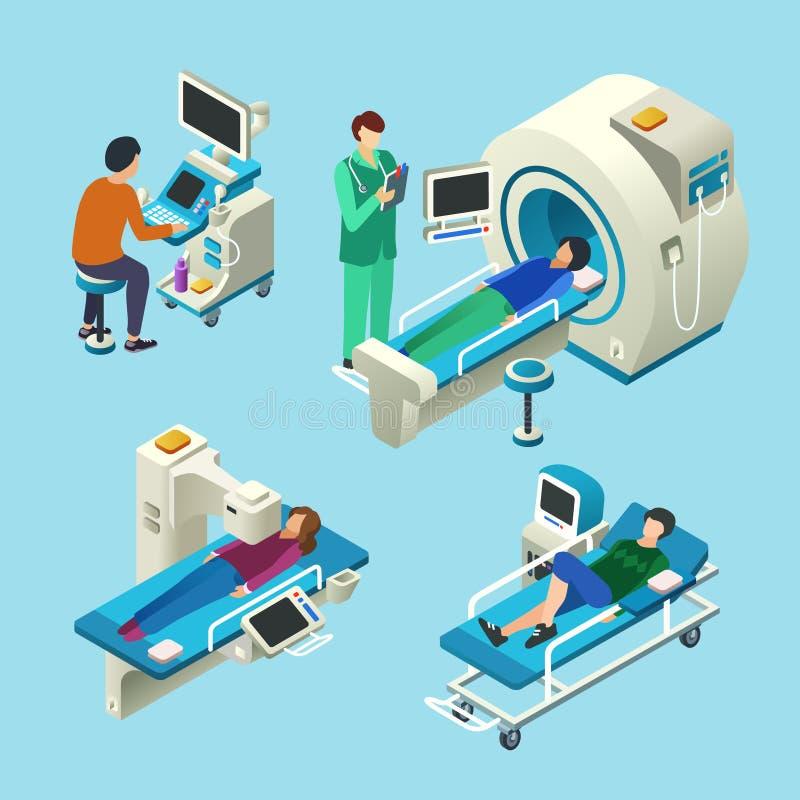 MRI przeszukiwacza wektorowy ilustracyjny isometric badanie medyczne ilustracji