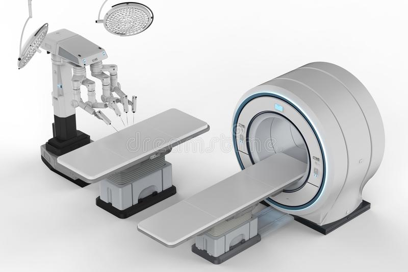 Mri scan with robot surgery. 3d rendering mri scan machine with robot surgery royalty free stock image